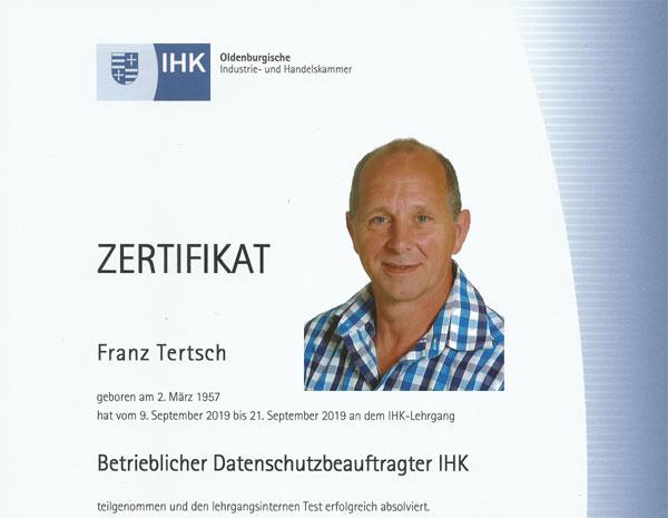 IHK certificaat Functionaris Gegevensbescherming Franz Tertsch